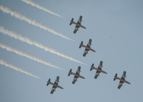 The UAE Airforce display team celebrating a national holiday in Abu Dhabi