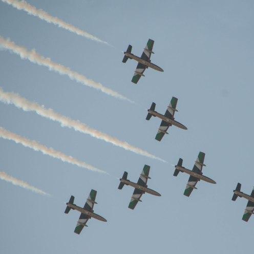 The UAE Airforce display team celebrating a national holiday in Abu Dhabi