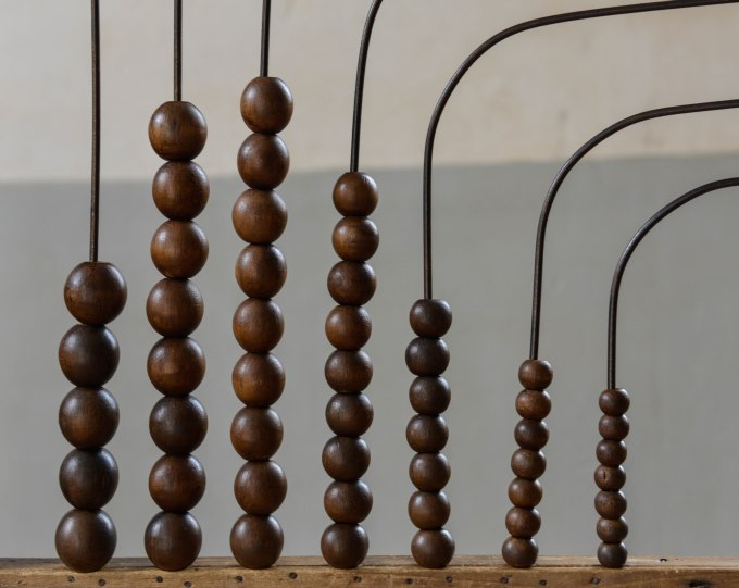 An abacus in the old schoolroom at Montrol-Senard. It wouldn't be the same shot if the column second from the right wasn't slightly askew.