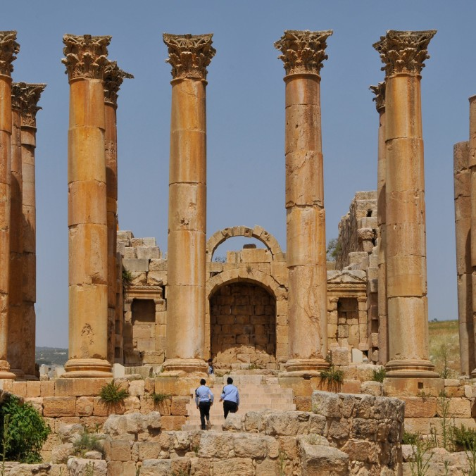 A ruined Roman temple in Jerash, Jordan. Nice of the security guards to provide scale (and be vertical themselves.