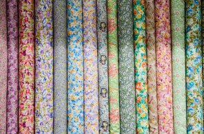 Madame's idea of heaven: bolts of fabric on display in a quilting supply shop in Dubai.