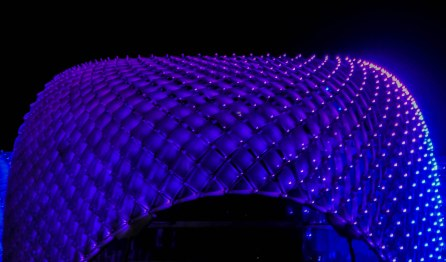 This is the Yas Hotel in Abu Dhabi. The lights cycle through a change of colours, but I think this purple is the most dramatic.