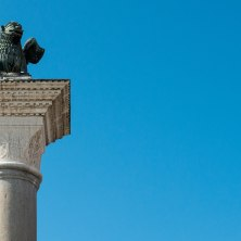 A winged lion looks over St. Mark's Square in Venice. Placing it to the left, looking to the right, gives a sense of the 'protective' role of this creature in Venetian culture