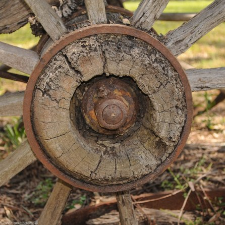 The hub of an old cartwheel in the Hunter Valley